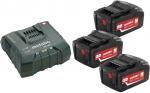 Аккумуляторы 3 шт 18 В и зарядное устройство ASC ULTRA Basic-Set5.2, METABO, 685061000