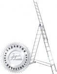 Лестница трехсекционная универсальная алюминиевая 3х10, АЛЮМЕТ, 5310